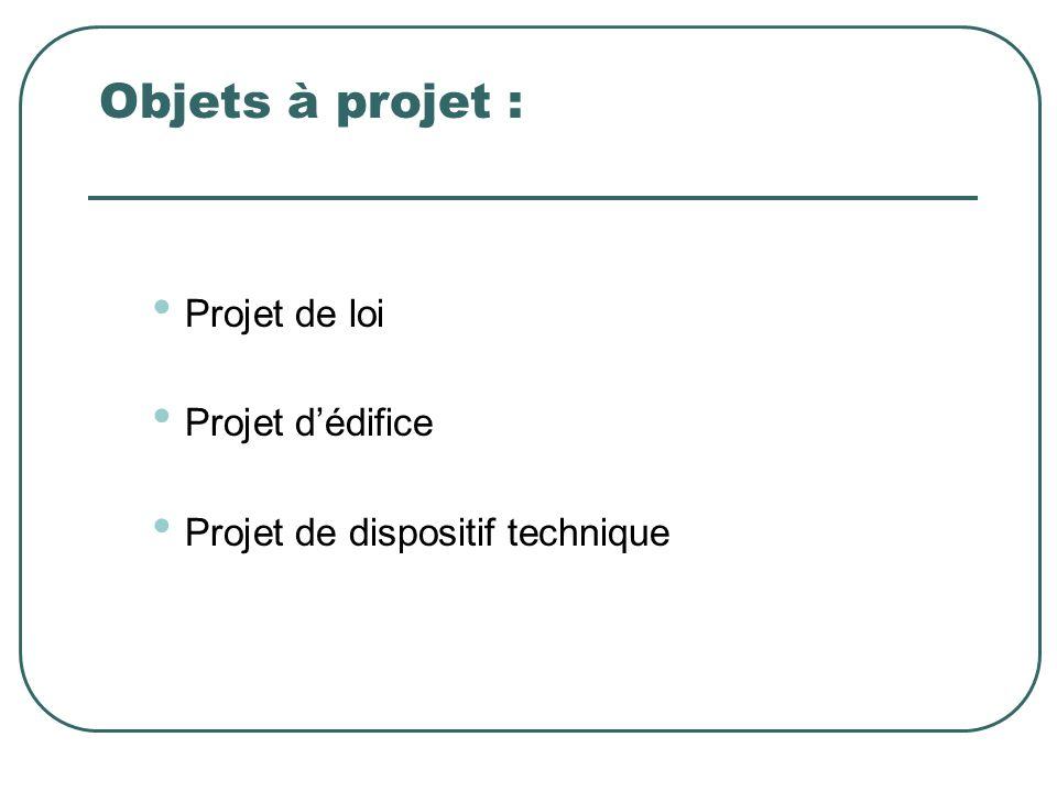 Objets à projet : Projet de loi Projet dédifice Projet de dispositif technique