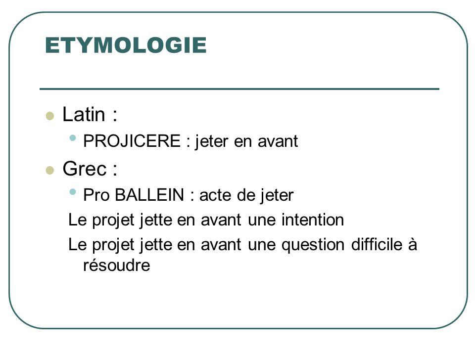 ETYMOLOGIE Latin : PROJICERE : jeter en avant Grec : Pro BALLEIN : acte de jeter Le projet jette en avant une intention Le projet jette en avant une q