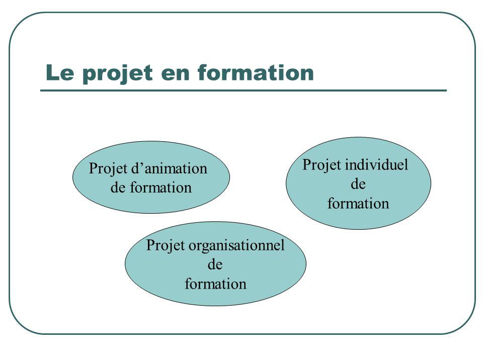 Le projet en formation Projet danimation de formation Projet individuel de formation Projet organisationnel de formation