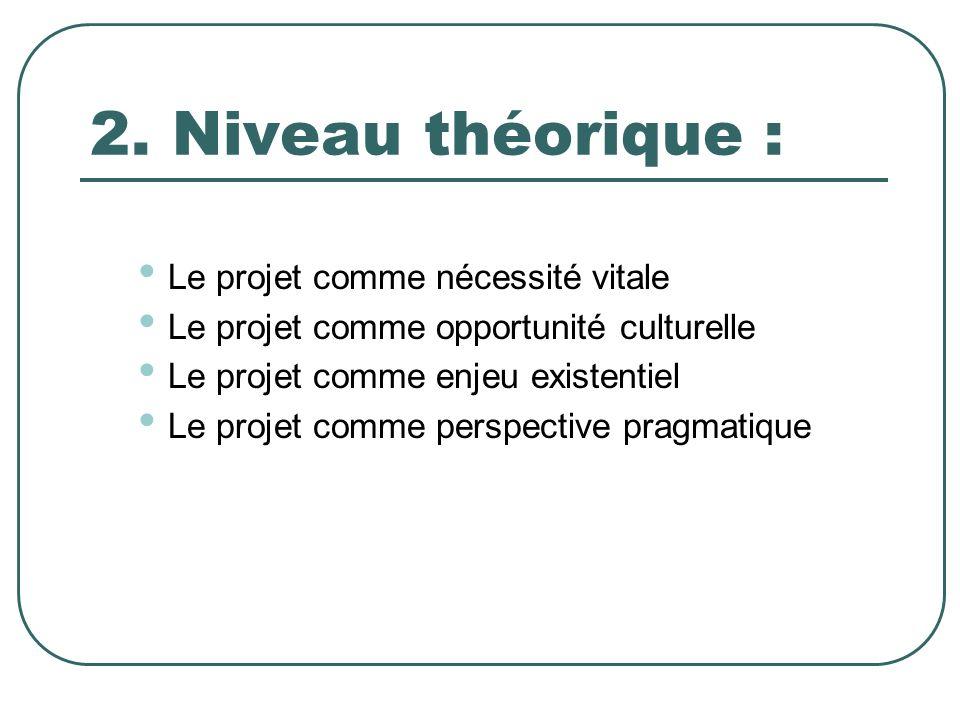 2. Niveau théorique : Le projet comme nécessité vitale Le projet comme opportunité culturelle Le projet comme enjeu existentiel Le projet comme perspe