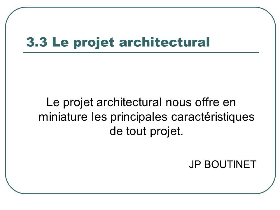 3.3 Le projet architectural Le projet architectural nous offre en miniature les principales caractéristiques de tout projet. JP BOUTINET