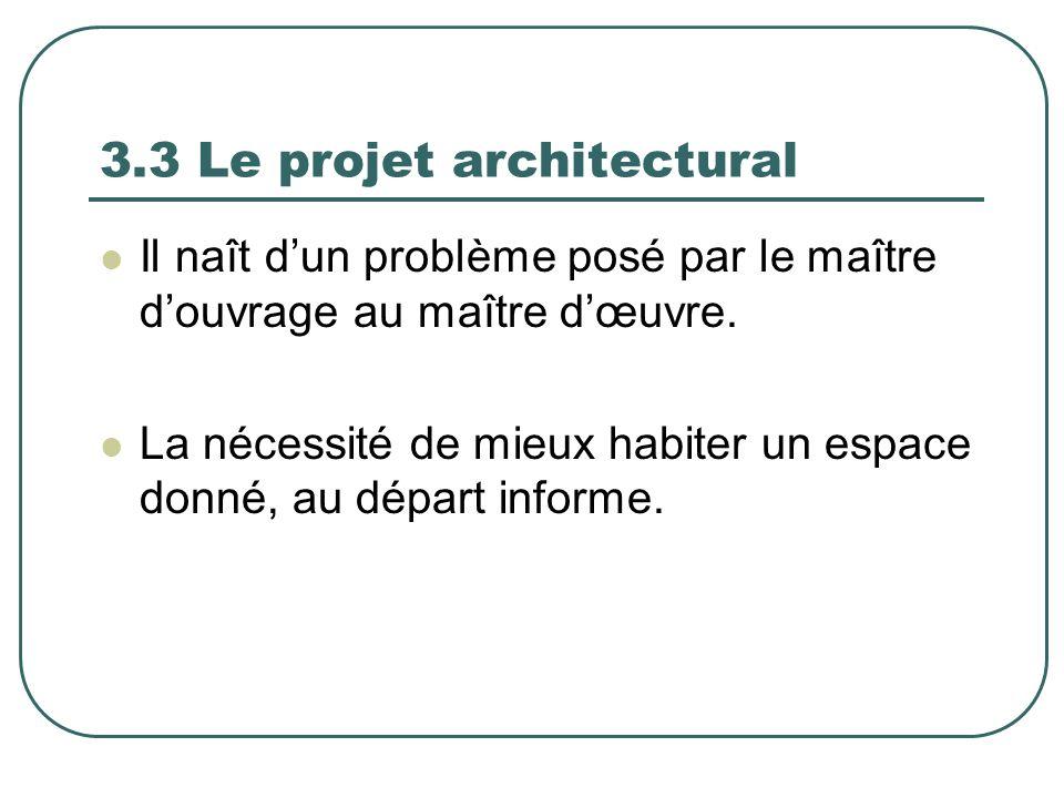 3.3 Le projet architectural Il naît dun problème posé par le maître douvrage au maître dœuvre. La nécessité de mieux habiter un espace donné, au dépar