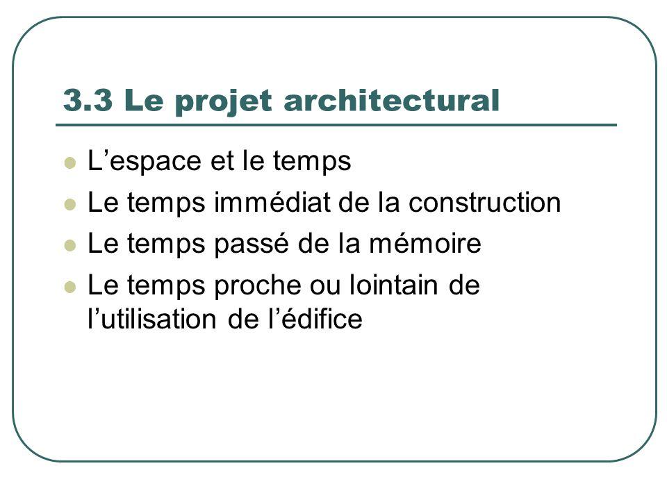3.3 Le projet architectural Lespace et le temps Le temps immédiat de la construction Le temps passé de la mémoire Le temps proche ou lointain de lutil