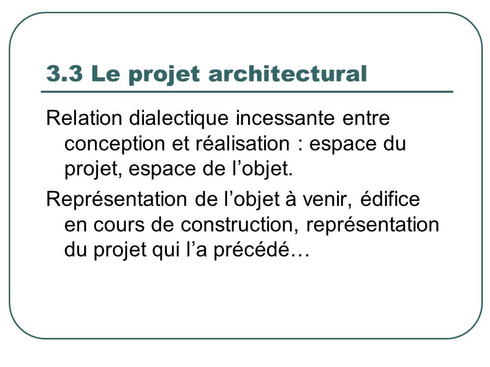 3.3 Le projet architectural Relation dialectique incessante entre conception et réalisation : espace du projet, espace de lobjet. Représentation de lo