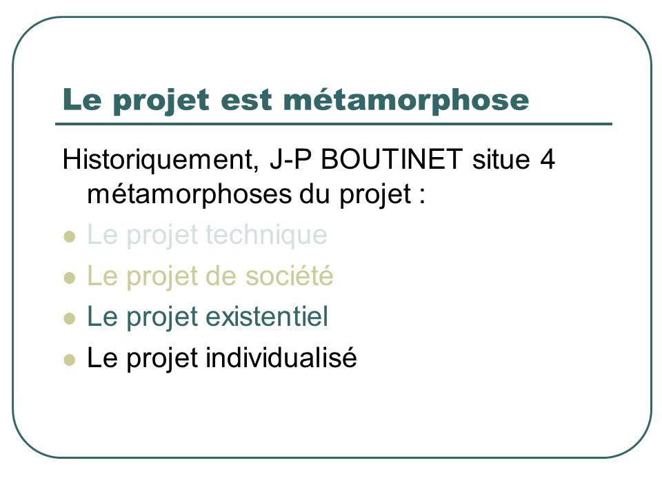 Le projet est métamorphose Historiquement, J-P BOUTINET situe 4 métamorphoses du projet : Le projet technique Le projet de société Le projet existenti