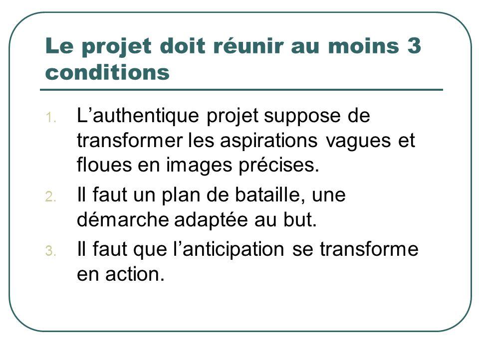 Le projet doit réunir au moins 3 conditions 1. Lauthentique projet suppose de transformer les aspirations vagues et floues en images précises. 2. Il f