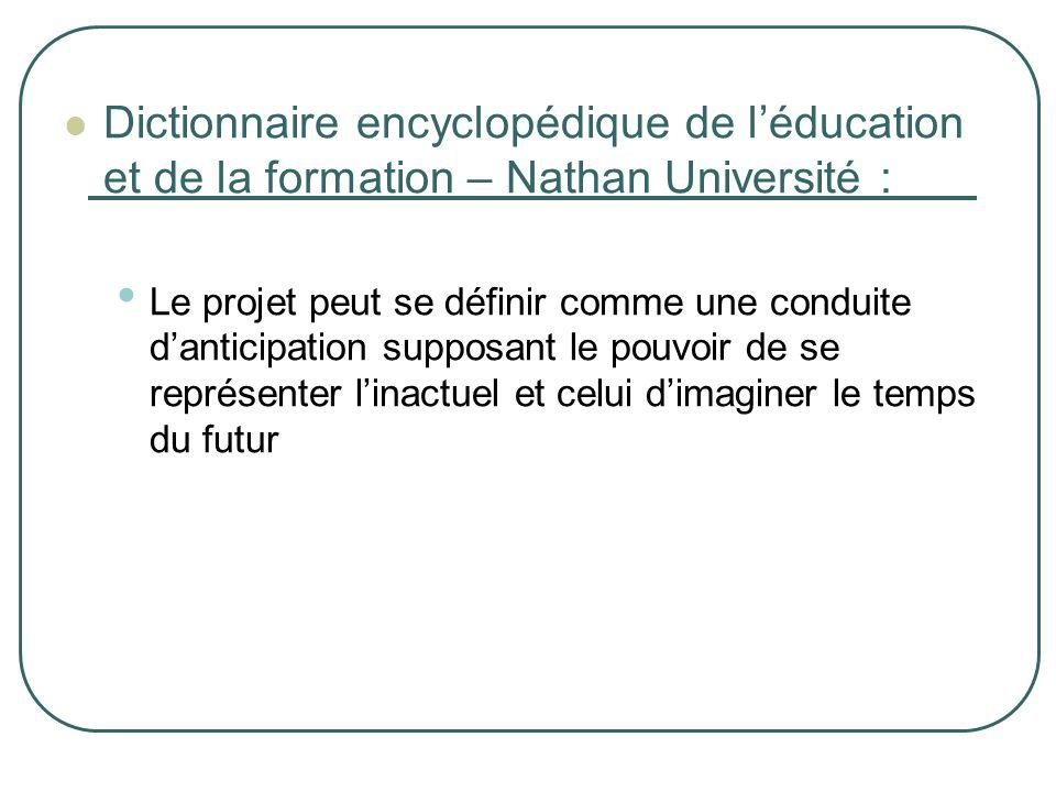 Dictionnaire encyclopédique de léducation et de la formation – Nathan Université : Le projet peut se définir comme une conduite danticipation supposan