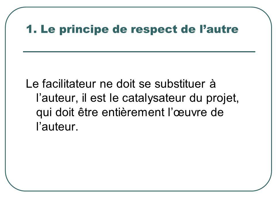 1. Le principe de respect de lautre Le facilitateur ne doit se substituer à lauteur, il est le catalysateur du projet, qui doit être entièrement lœuvr