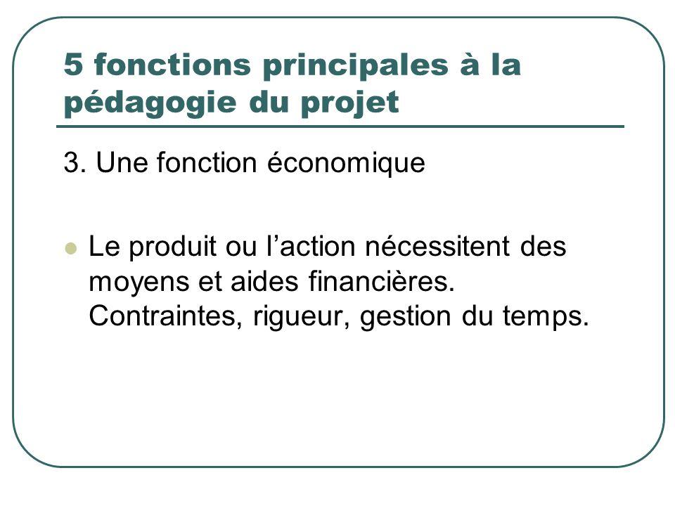 5 fonctions principales à la pédagogie du projet 3. Une fonction économique Le produit ou laction nécessitent des moyens et aides financières. Contrai