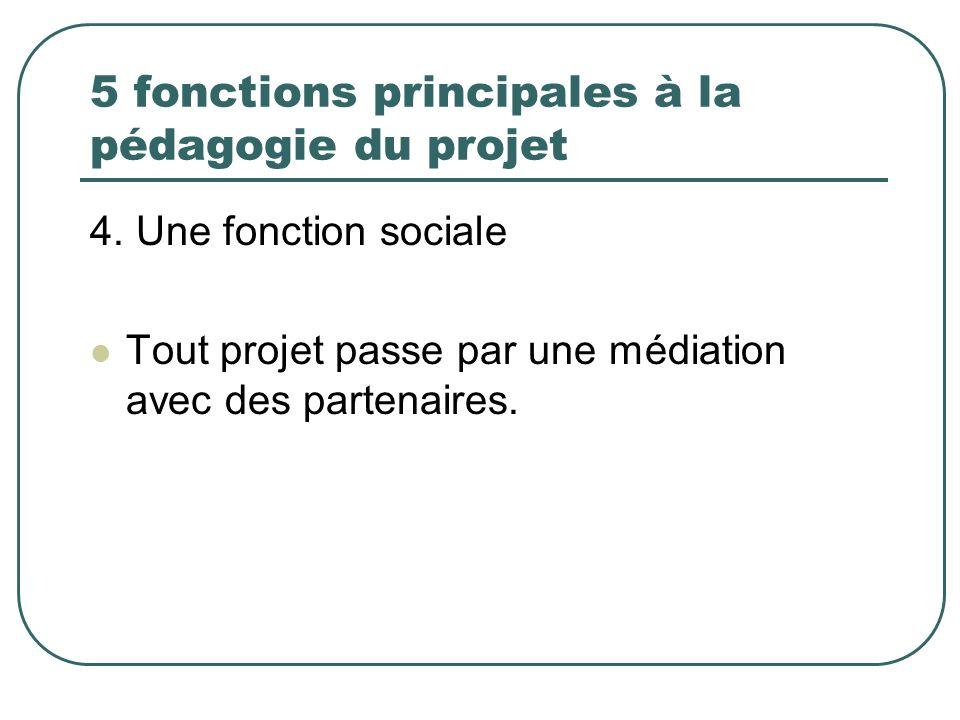 5 fonctions principales à la pédagogie du projet 4. Une fonction sociale Tout projet passe par une médiation avec des partenaires.
