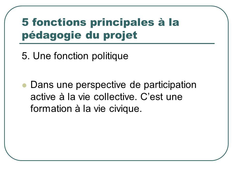 5 fonctions principales à la pédagogie du projet 5. Une fonction politique Dans une perspective de participation active à la vie collective. Cest une