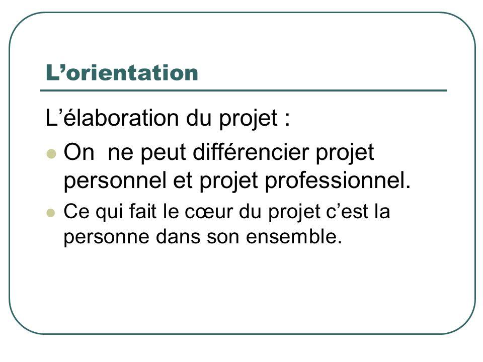 Lorientation Lélaboration du projet : On ne peut différencier projet personnel et projet professionnel. Ce qui fait le cœur du projet cest la personne