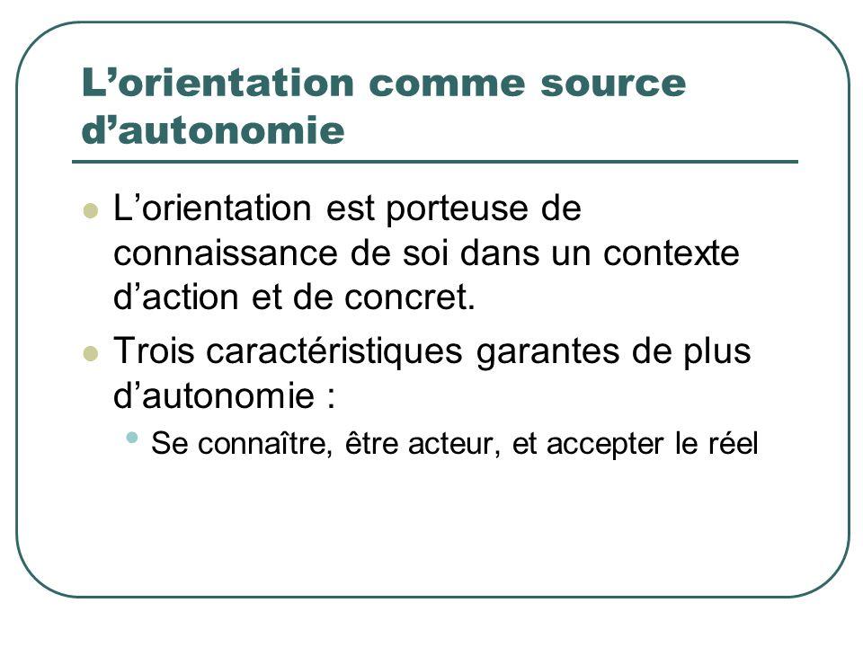 Lorientation comme source dautonomie Lorientation est porteuse de connaissance de soi dans un contexte daction et de concret. Trois caractéristiques g