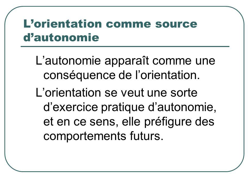 Lorientation comme source dautonomie Lautonomie apparaît comme une conséquence de lorientation. Lorientation se veut une sorte dexercice pratique daut