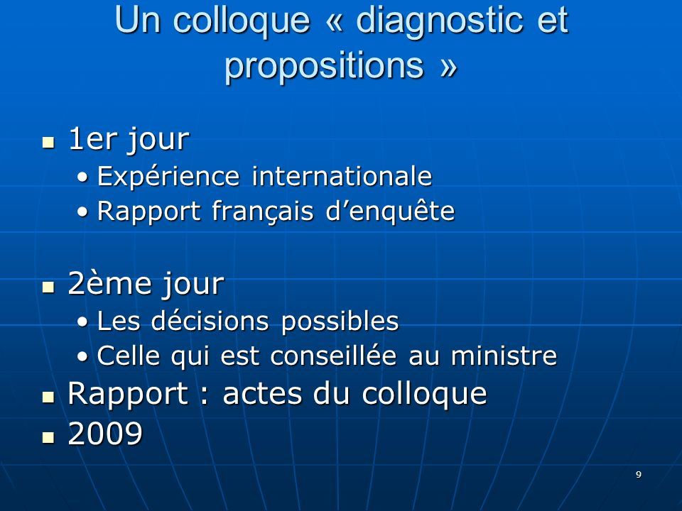 9 Un colloque « diagnostic et propositions » 1er jour 1er jour Expérience internationaleExpérience internationale Rapport français denquêteRapport fra