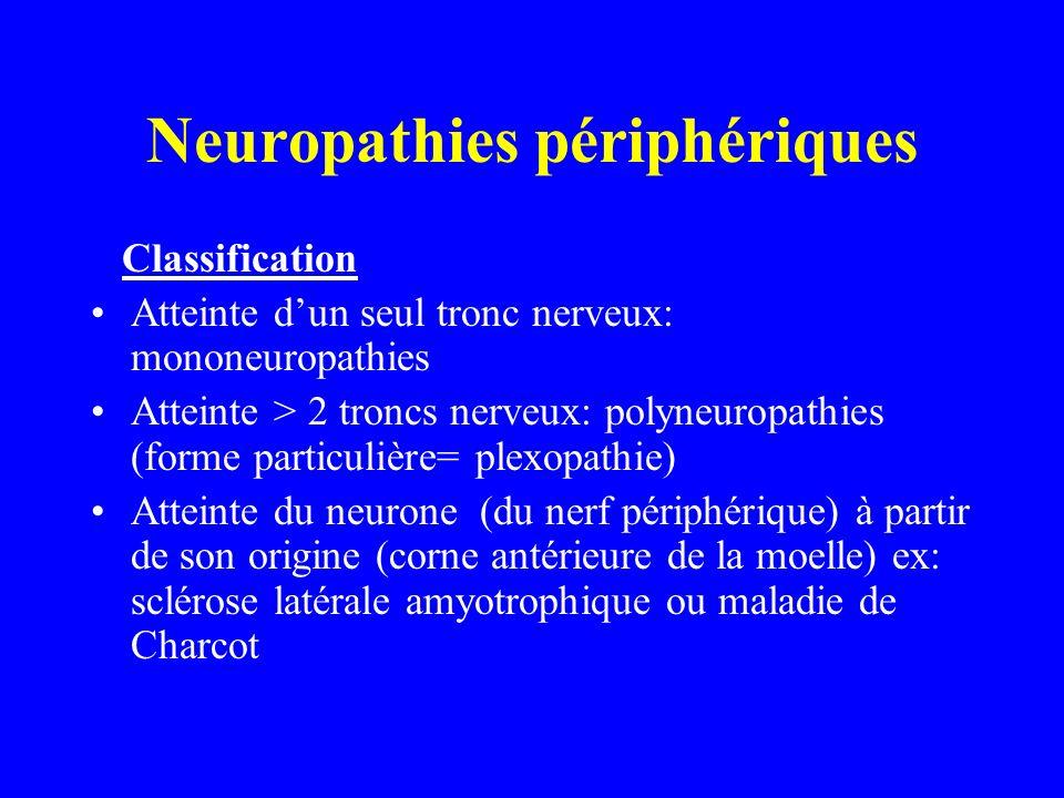 Neuropathies périphériques Classification Atteinte dun seul tronc nerveux: mononeuropathies Atteinte > 2 troncs nerveux: polyneuropathies (forme parti