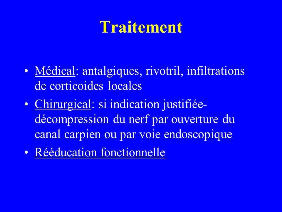 Traitement Médical: antalgiques, rivotril, infiltrations de corticoides locales Chirurgical: si indication justifiée- décompression du nerf par ouvert