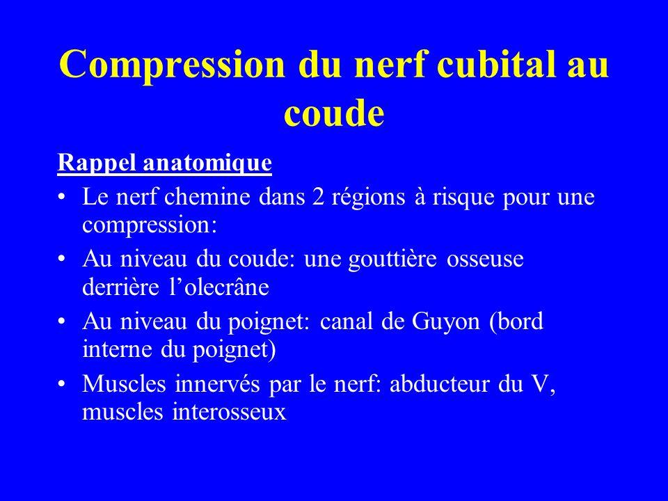 Compression du nerf cubital au coude Rappel anatomique Le nerf chemine dans 2 régions à risque pour une compression: Au niveau du coude: une gouttière