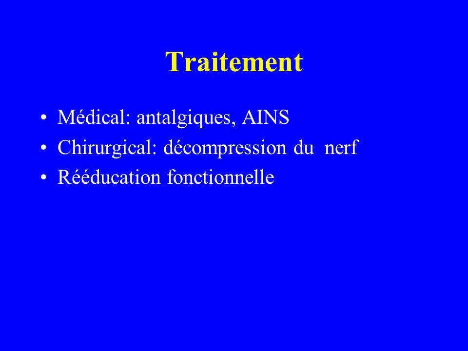 Traitement Médical: antalgiques, AINS Chirurgical: décompression du nerf Rééducation fonctionnelle