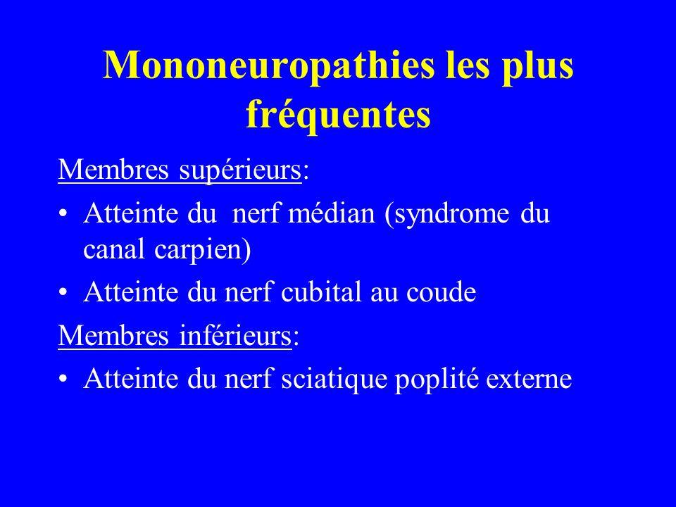 Mononeuropathies les plus fréquentes Membres supérieurs: Atteinte du nerf médian (syndrome du canal carpien) Atteinte du nerf cubital au coude Membres