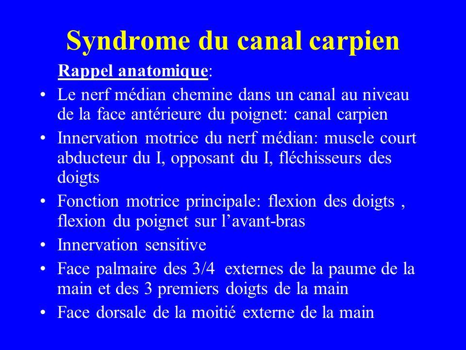 Syndrome du canal carpien Rappel anatomique: Le nerf médian chemine dans un canal au niveau de la face antérieure du poignet: canal carpien Innervatio