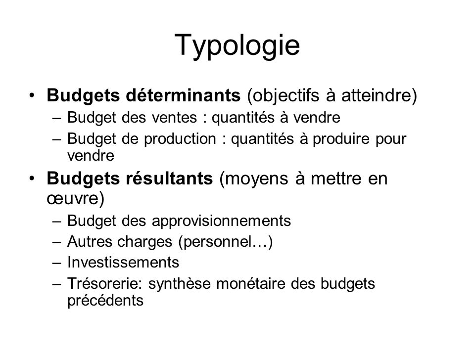 Typologie Budgets déterminants (objectifs à atteindre) –Budget des ventes : quantités à vendre –Budget de production : quantités à produire pour vendr