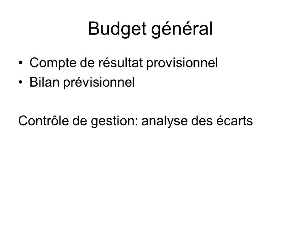 Budget général Compte de résultat provisionnel Bilan prévisionnel Contrôle de gestion: analyse des écarts