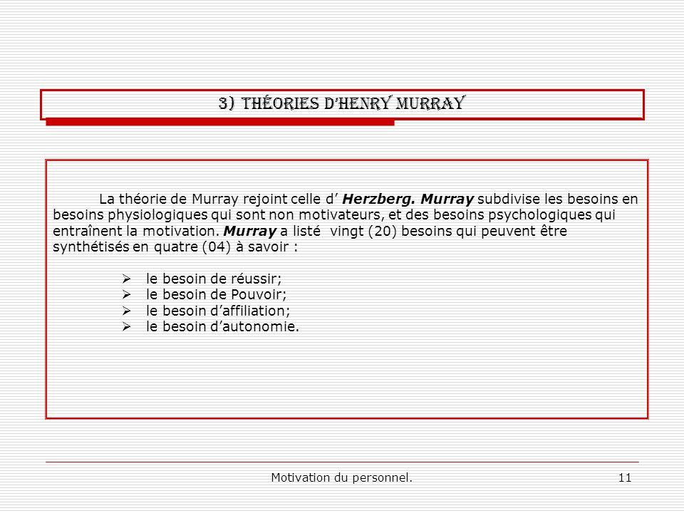 Motivation du personnel.11 La théorie de Murray rejoint celle d Herzberg. Murray subdivise les besoins en besoins physiologiques qui sont non motivate
