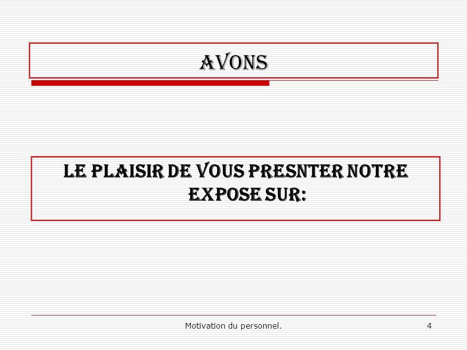 4 AVONS LE PLAISIR DE VOUS PRESNTER NOTRE EXPOSE SUR: