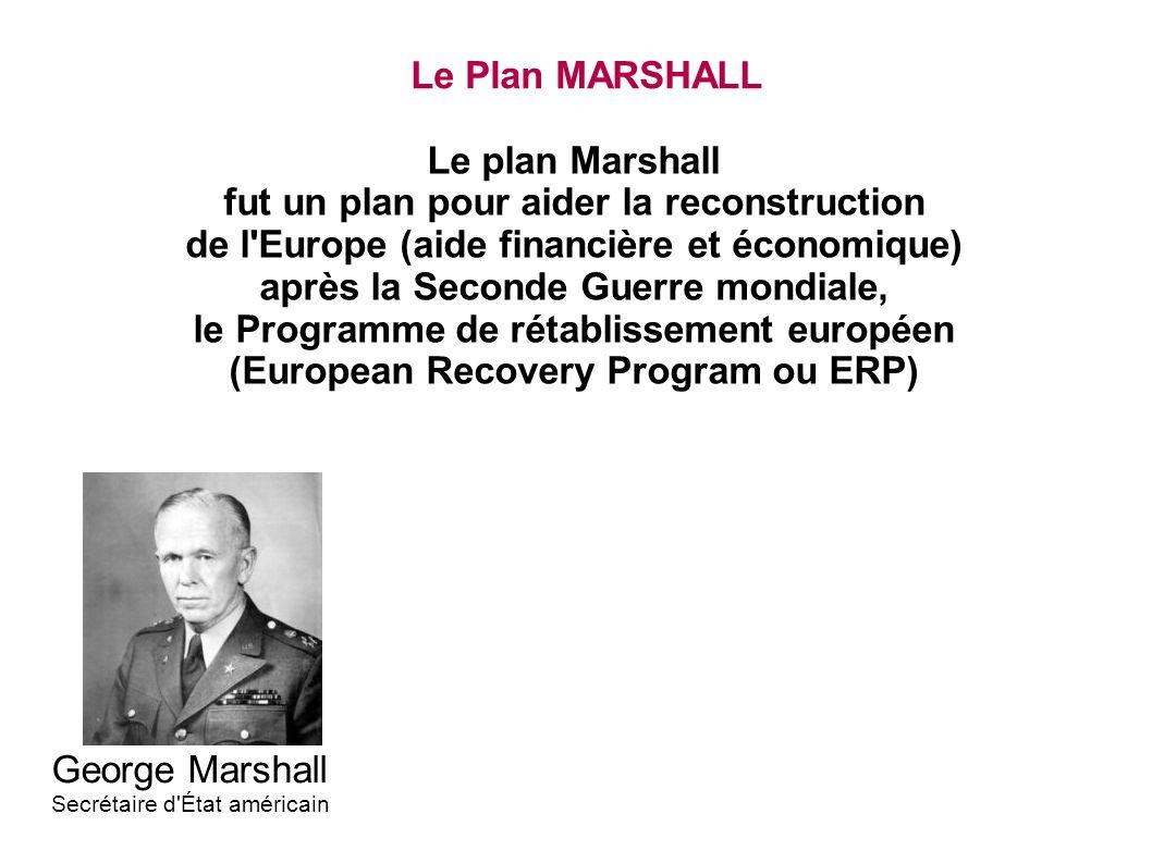 Le Plan MARSHALL Le plan Marshall fut un plan pour aider la reconstruction de l'Europe (aide financière et économique) après la Seconde Guerre mondial