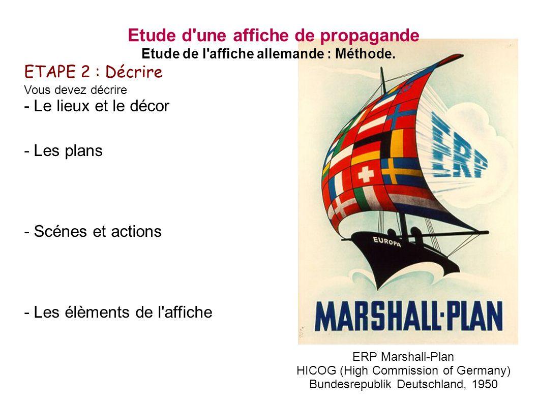 ERP Marshall-Plan HICOG (High Commission of Germany) Bundesrepublik Deutschland, 1950 Etude d une affiche de propagande Etude de l affiche allemande : Méthode.