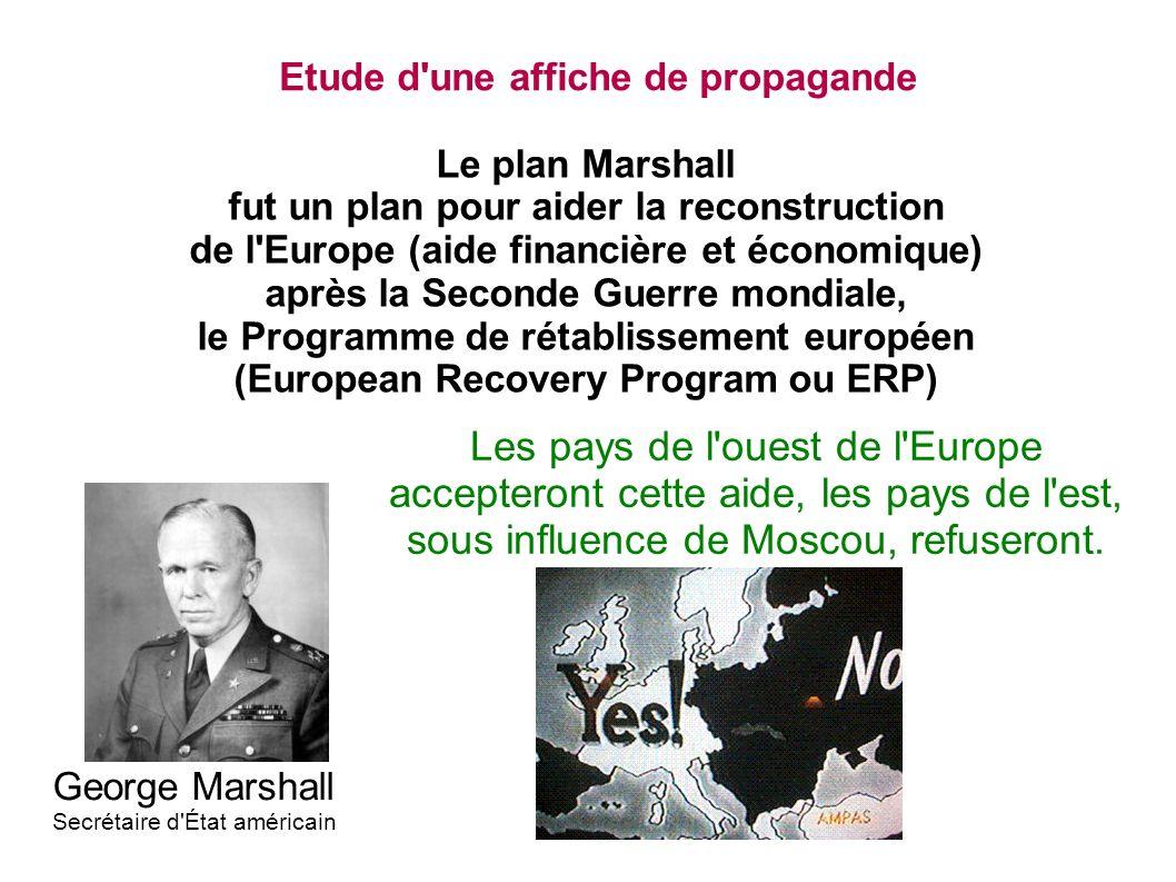 Etude d'une affiche de propagande Le plan Marshall fut un plan pour aider la reconstruction de l'Europe (aide financière et économique) après la Secon