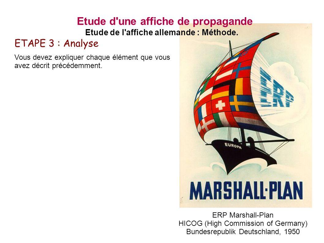 ERP Marshall-Plan HICOG (High Commission of Germany) Bundesrepublik Deutschland, 1950 Etude d'une affiche de propagande Etude de l'affiche allemande :