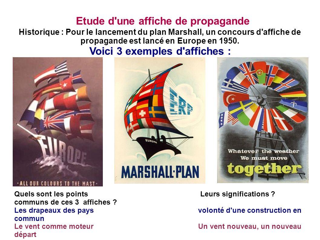 Etude d'une affiche de propagande Historique : Pour le lancement du plan Marshall, un concours d'affiche de propagande est lancé en Europe en 1950. Vo