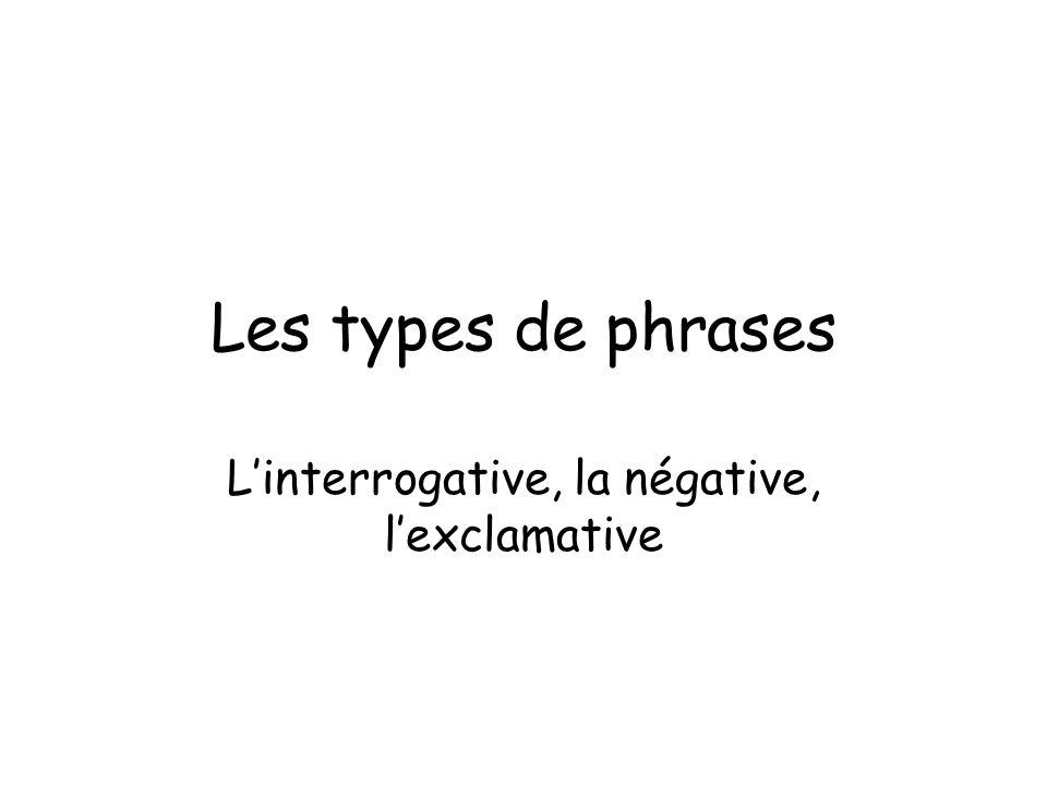 Les types de phrases Linterrogative, la négative, lexclamative