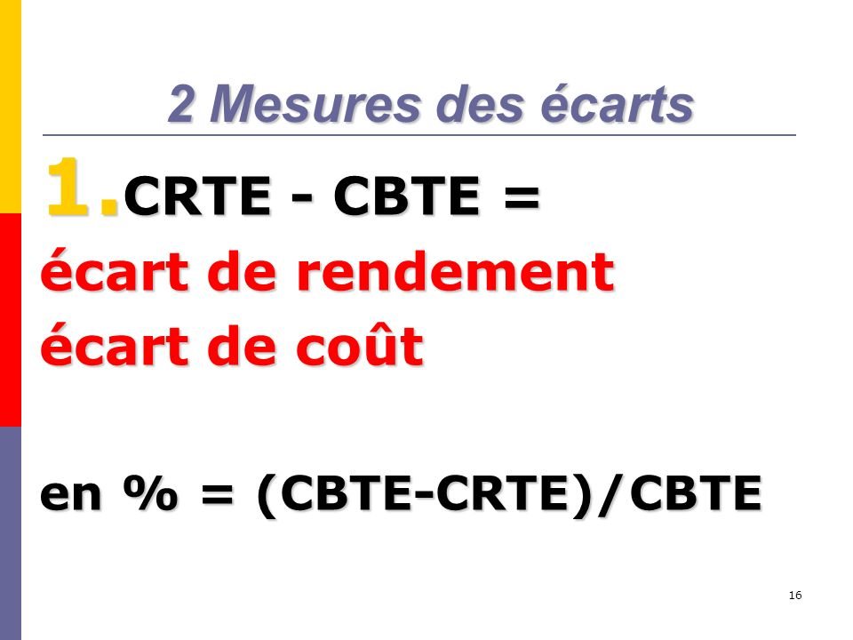 16 2 Mesures des écarts 1. CRTE - CBTE = écart de rendement écart de coût en % = (CBTE-CRTE)/CBTE