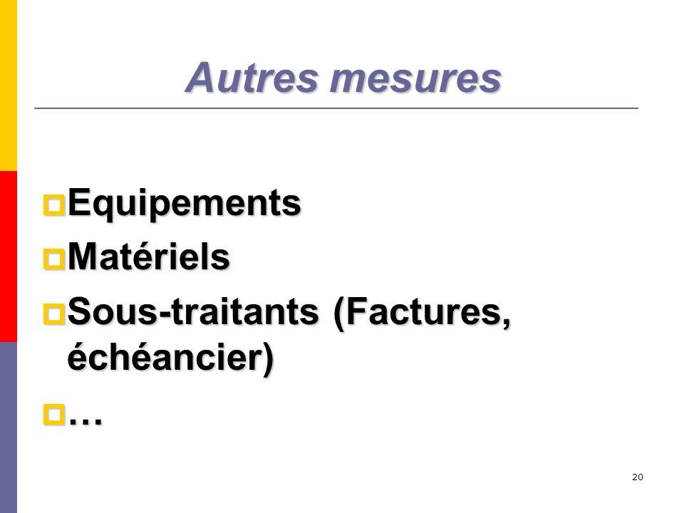 20 Autres mesures Equipements Equipements Matériels Matériels Sous-traitants (Factures, échéancier) Sous-traitants (Factures, échéancier) …
