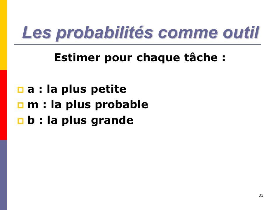 33 Les probabilités comme outil Estimer pour chaque tâche : a : la plus petite m : la plus probable b : la plus grande