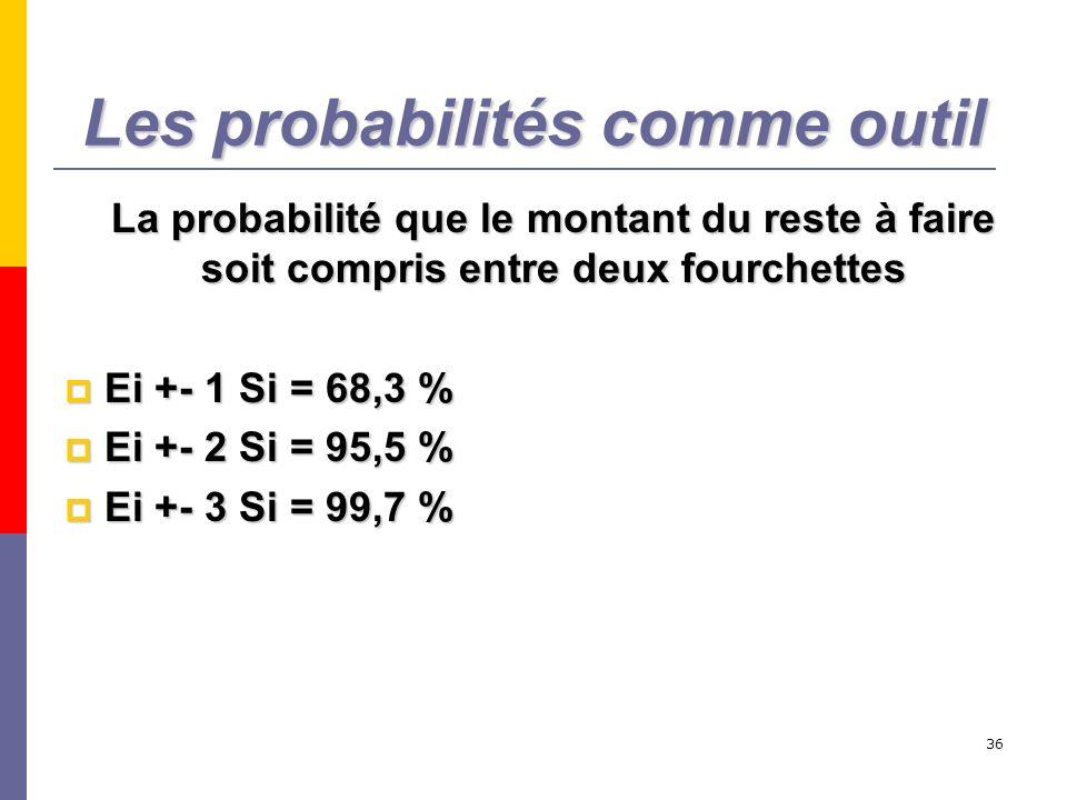 36 Les probabilités comme outil La probabilité que le montant du reste à faire soit compris entre deux fourchettes Ei +- 1 Si = 68,3 % Ei +- 1 Si = 68
