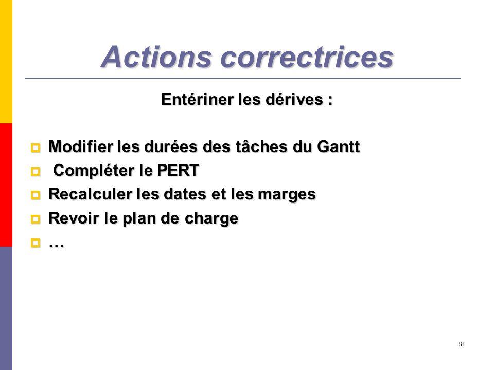38 Actions correctrices Entériner les dérives : Modifier les durées des tâches du Gantt Modifier les durées des tâches du Gantt Compléter le PERT Comp