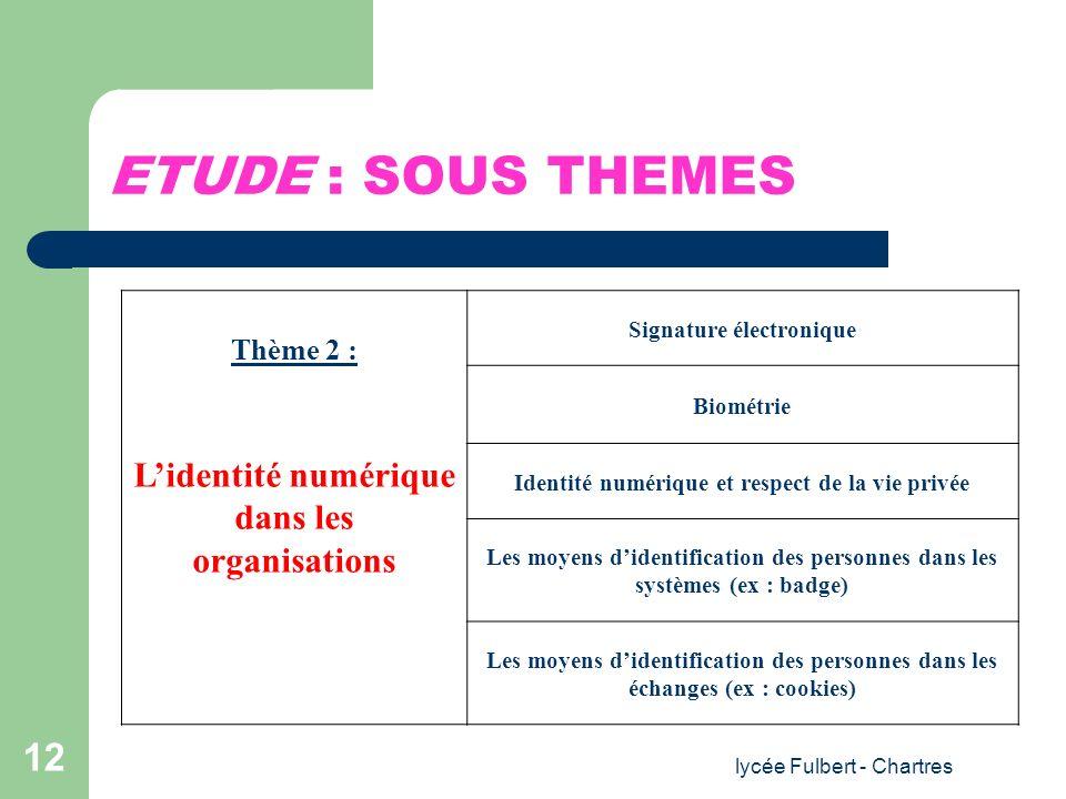 lycée Fulbert - Chartres 12 ETUDE : SOUS THEMES Thème 2 : Lidentité numérique dans les organisations Signature électronique Biométrie Identité numériq
