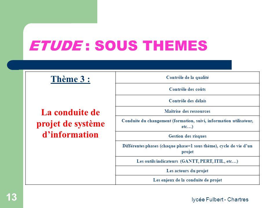 lycée Fulbert - Chartres 13 ETUDE : SOUS THEMES Thème 3 : La conduite de projet de système dinformation Contrôle de la qualité Contrôle des coûts Cont