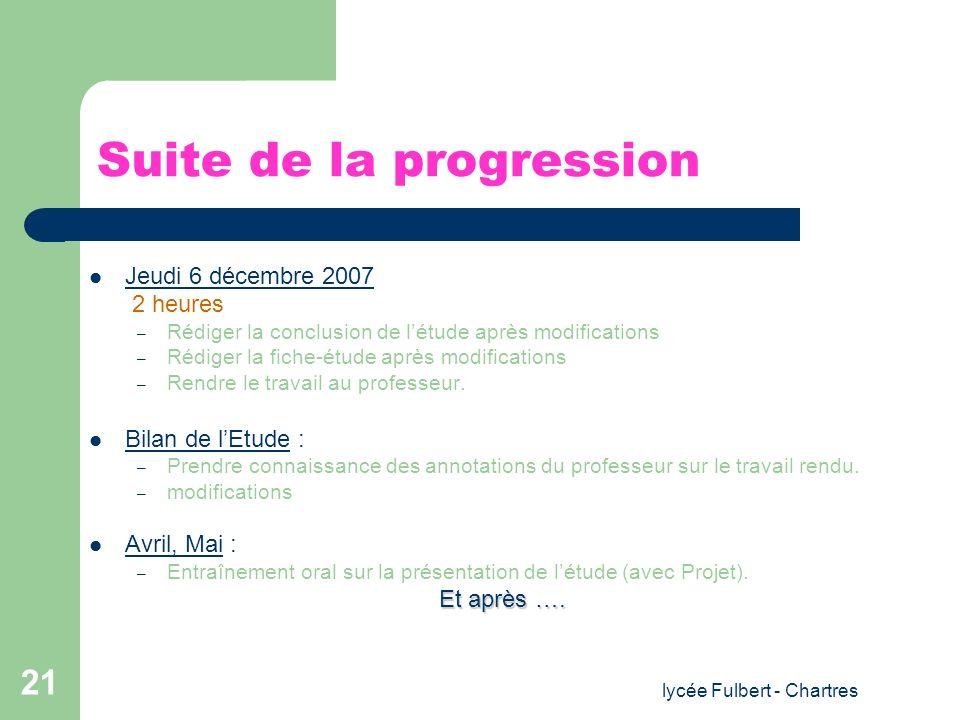 lycée Fulbert - Chartres 21 Suite de la progression Jeudi 6 décembre 2007 2 heures – Rédiger la conclusion de létude après modifications – Rédiger la