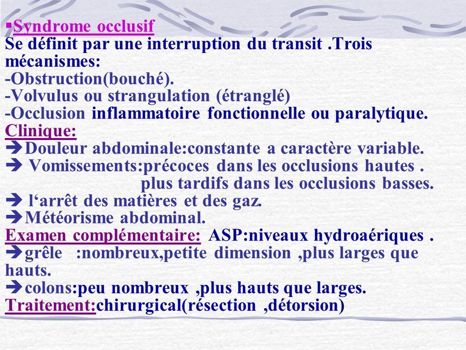 Syndrome occlusif Se définit par une interruption du transit.Trois mécanismes: -Obstruction(bouché). -Volvulus ou strangulation (étranglé) -Occlusion