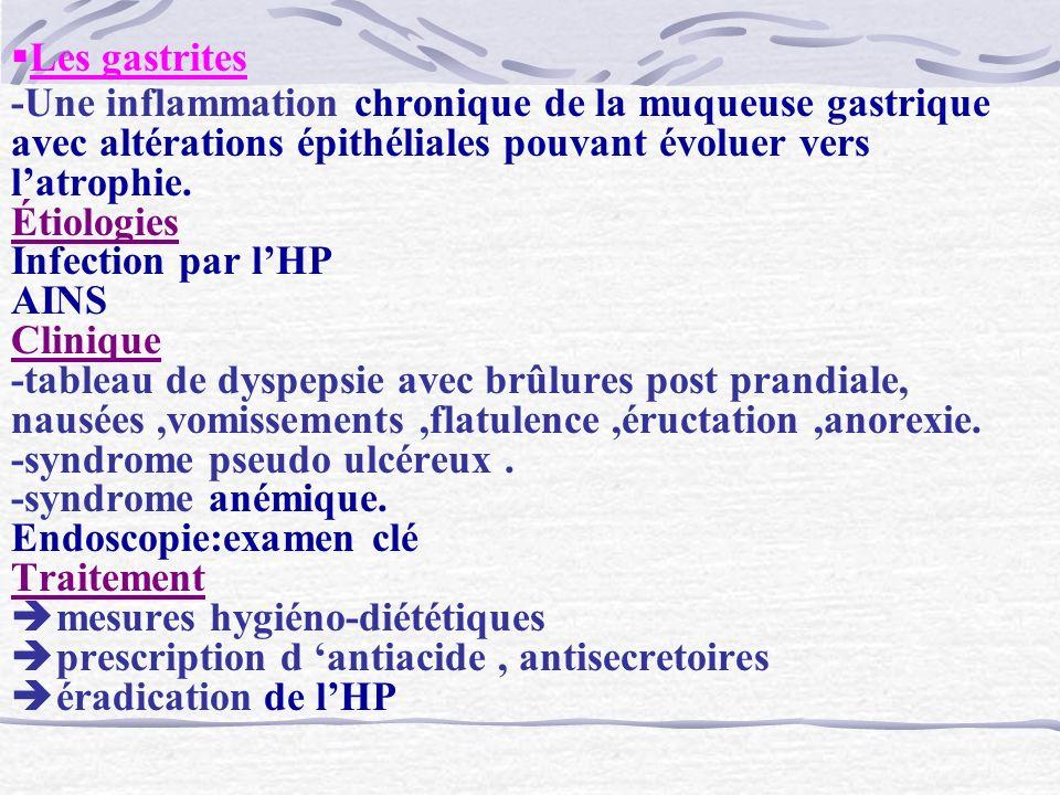 Les gastrites -Une inflammation chronique de la muqueuse gastrique avec altérations épithéliales pouvant évoluer vers latrophie. Étiologies Infection