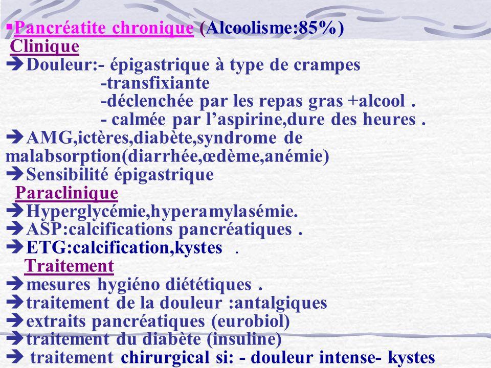 Pancréatite chronique (Alcoolisme:85%) Clinique Douleur:- épigastrique à type de crampes -transfixiante -déclenchée par les repas gras +alcool. - calm