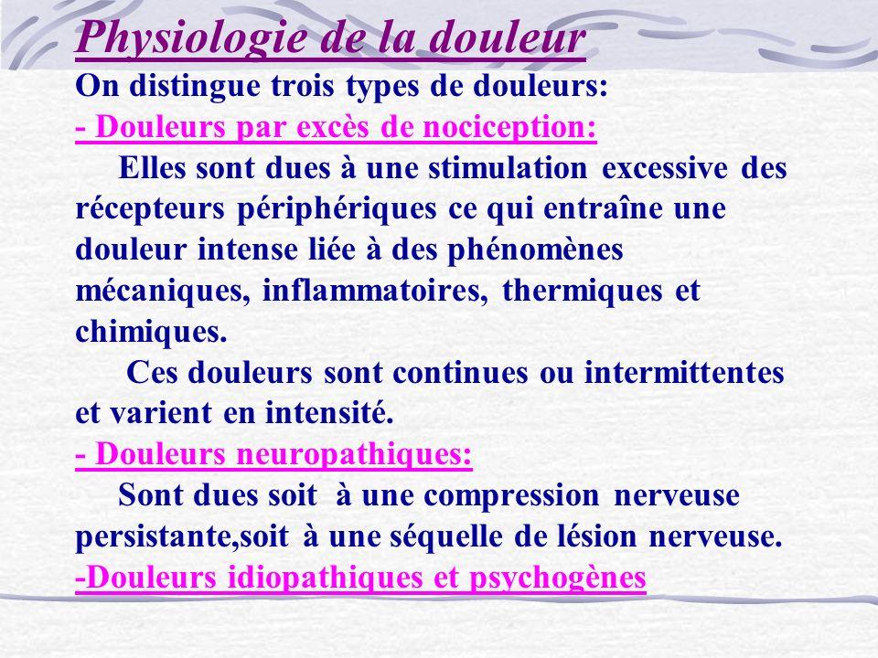 Physiologie de la douleur On distingue trois types de douleurs: - Douleurs par excès de nociception: Elles sont dues à une stimulation excessive des r
