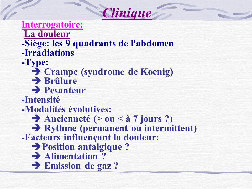 Clinique Interrogatoire: La douleur -Siège: les 9 quadrants de l'abdomen -Irradiations -Type: Crampe (syndrome de Koenig) Brûlure Pesanteur -Intensité