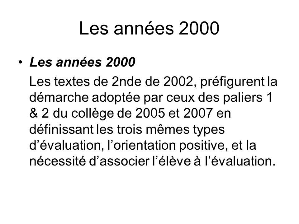 Les années 2000 Les textes de 2nde de 2002, préfigurent la démarche adoptée par ceux des paliers 1 & 2 du collège de 2005 et 2007 en définissant les t