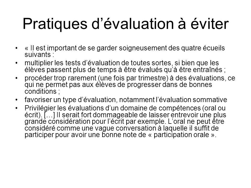 Pratiques dévaluation à éviter « Il est important de se garder soigneusement des quatre écueils suivants : multiplier les tests dévaluation de toutes